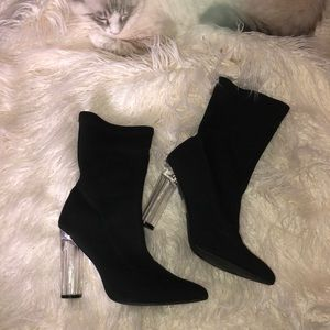 Point toe booties with acrylic heel